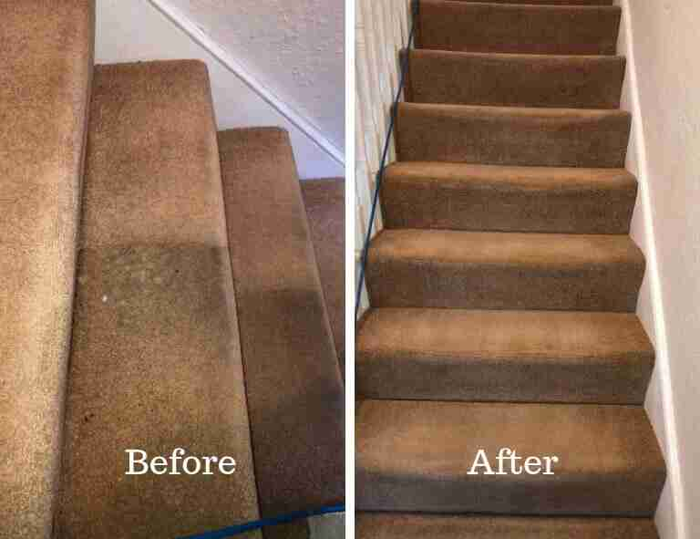 Stairs carpet cleaning before and after