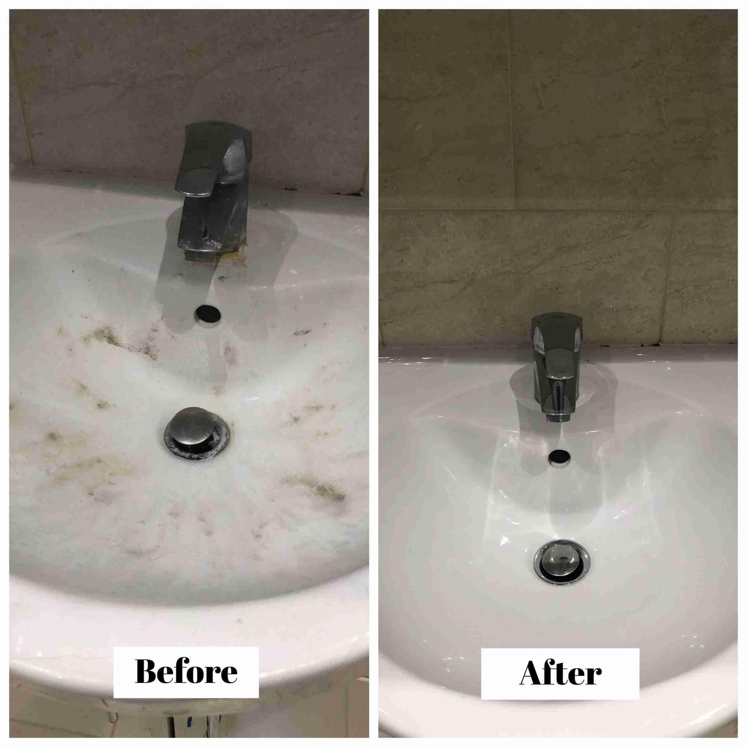Bathroom basin - before and after